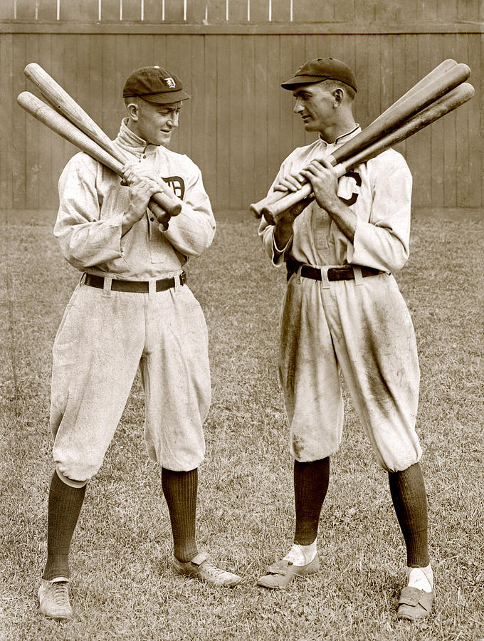 Ty Cobb, left, and Shoeless Joe Jackson