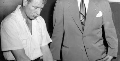Indians owner Bill Veeck, left, and pitcher Bob Feller.