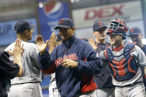 Carrasco Misses No-Hitter by One Out; Indians 8, Rays 1
