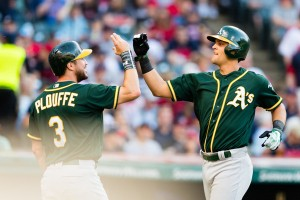 Pair of Pinder Blasts Push A's Past Tribe; A's 3, Indians 1