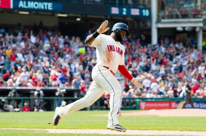Almonte Homer Sends Tribe to Sweep and Five in a Row; Indians 9, Angels 2